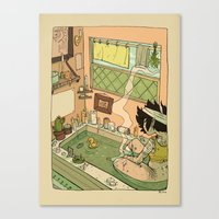 bath Canvas Prints featuring Bath by oculus-feline