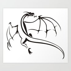 A simple flying dragon Art Print