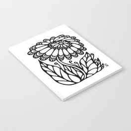 Black flower III Notebook
