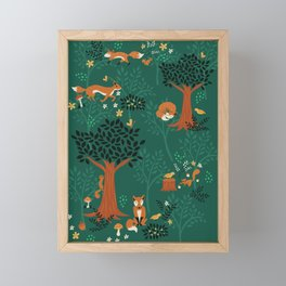 Foxes Playing in the Emerald Forest Framed Mini Art Print