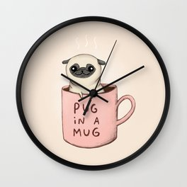 Pug in a Mug Wall Clock
