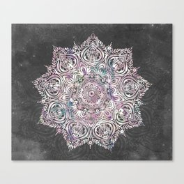 Dreaming Mandala - Magical Purple on Gray Canvas Print