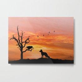 Fox and raven Metal Print