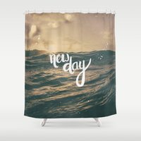 pocketfuel Shower Curtains featuring NEW DAY by Pocket Fuel