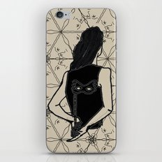 woman holding mask in back iPhone & iPod Skin