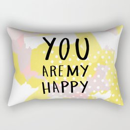 You are my happy - hand lettering - Blush and yellow abstract Rectangular Pillow