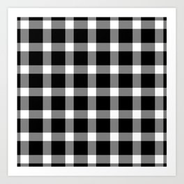 Plaid Dark Black Art Print