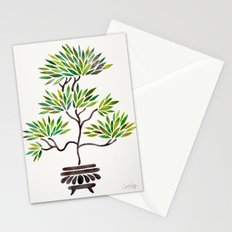 Bonsai Tree – Green Leaves Stationery Cards