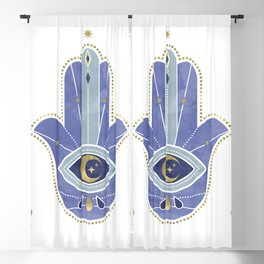 Hamsa Hand in Blue Blackout Curtain