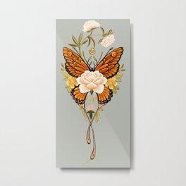 Butterfly Peonies Tattoo Metal Print