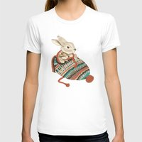 fabric T-shirts featuring cozy chipmunk by Laura Graves