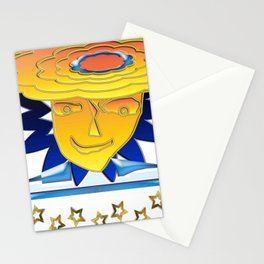 Doodle Sun-flower-man, abstract, fun design Stationery Cards