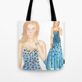 Karlie in Strapless Blue Mermaid Gown Tote Bag