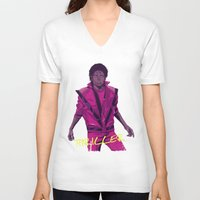 leather V-neck T-shirts featuring THRILLER - Leather jacket Version by Mike Wrobel