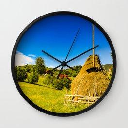 Haystack in the Carpathians of Romania Wall Clock
