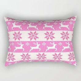 Watercolor Fair Isle in Pink Rectangular Pillow