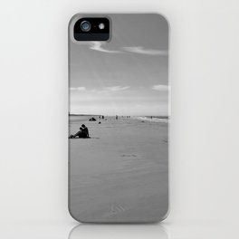low tide sand beach sunny summer day at ouddorp zeeland netherlands europe black white iPhone Case