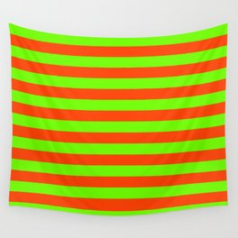 Super Bright Neon Orange and Green Horizontal Beach Hut Stripes Wall Tapestry