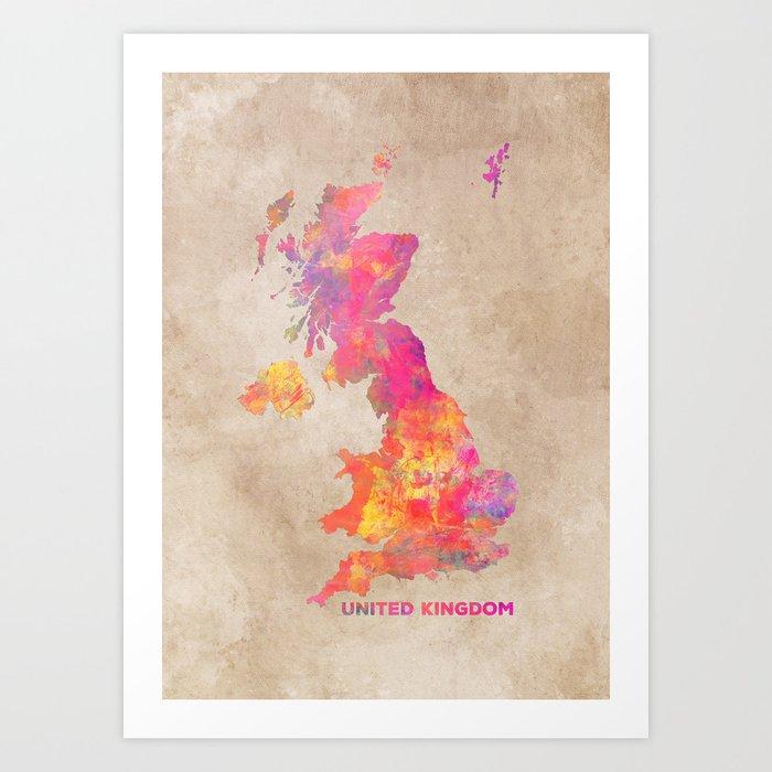 united kingdom map uk unitedkingdom map art print