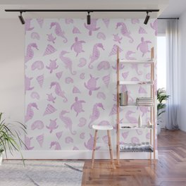 Sea Creatures | Light Pink Ocean Animal Pattern Wall Mural