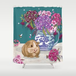 Guinea Pig with Blue Willow Jug of Sweet Williams Shower Curtain