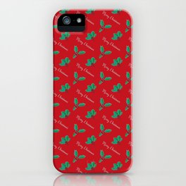 Holy Berry Merry Christmas on Red iPhone Case