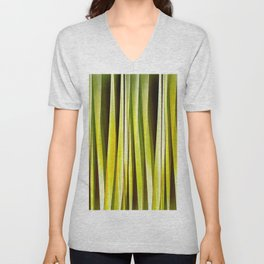 Yellow Ochre and Brown Stripy Lines Pattern Unisex V-Neck