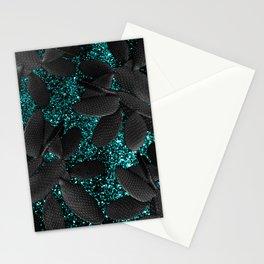 Black Cacti on Aqua Blue Glitter #1 #shiny #decor #art #society6 Stationery Cards
