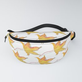 Yellow autumn leaf watercolour Fanny Pack