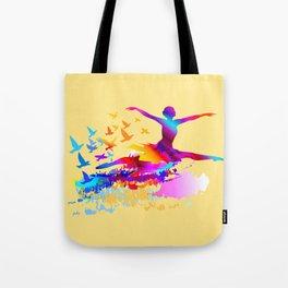 Colorful ballet dancer with flying birds Tote Bag
