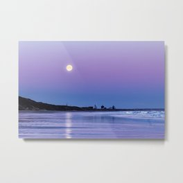 Supermoon setting at Saltburn-by-the-sea Metal Print