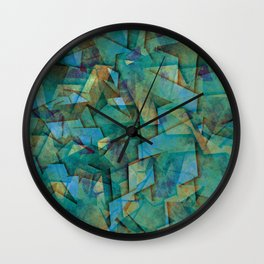 Fragments In blue - Abstract, fragmented art in blue Wall Clock