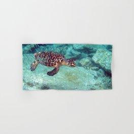 Watercolor Turtle, Hawksbill Turtle 21, St John, USVI Hand & Bath Towel