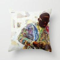biggie Throw Pillows featuring Biggie by Katy Hirschfeld