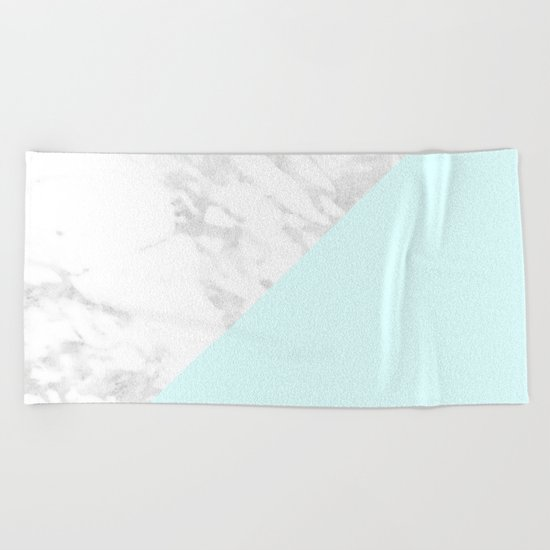 White Marble with Pastel Blue and Grey Beach Towel