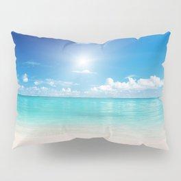 Beach Sun Clouds Ocean Blues Sunshine Waves Seaside Pillow Sham
