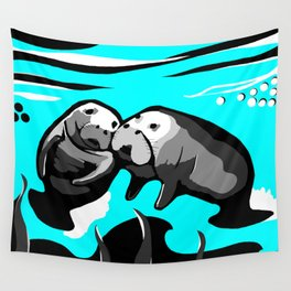 Manatee Love in blue Wall Tapestry