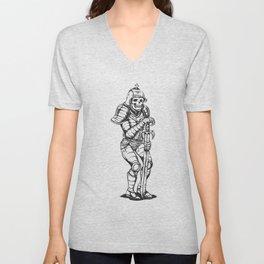 knight skeleton - warrior illustration - skull black and white Unisex V-Neck