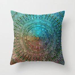 Cold Metal Flower Mandala Throw Pillow