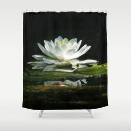 One lonely lily pad bloom in the channel Shower Curtain