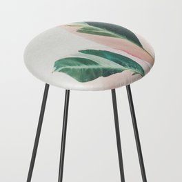 Pink Leaves I Counter Stool