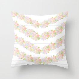 Watercolor garden and stripes Throw Pillow