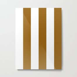 Wide Vertical Stripes - White and Golden Brown Metal Print