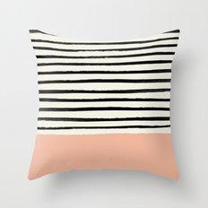 Peach x Stripes Throw Pillow