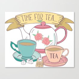 Time for Tea Vintage Teapot and Teacups Canvas Print