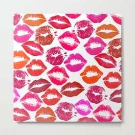 Lipstick Marks Lip Prints Kiss Smooches Metal Print