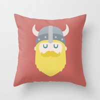 viking Throw Pillows featuring Viking by Beardy Graphics