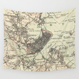 Vintage Map of Portland Maine (1914) Wall Tapestry