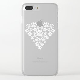 Cute Dog Paw Print Dog Lover Animal Care Clear iPhone Case
