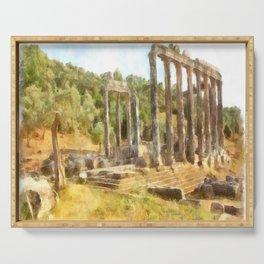 Fallen Ruins of Euromos Watercolor Serving Tray